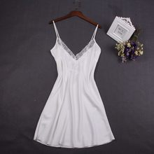 872ce7b40a844 Sexy White Women Nightwear Lace Nightdress Nighty Mini Nightgown Suspender  Skirt Sleepwear Rayon Sleeveless For Female. 4 Colors Available