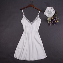 Sexy White Women Nightwear Lace Nightdress Nighty Mini Nightgown Suspender Skirt Sleepwear Rayon Sleeveless For Female
