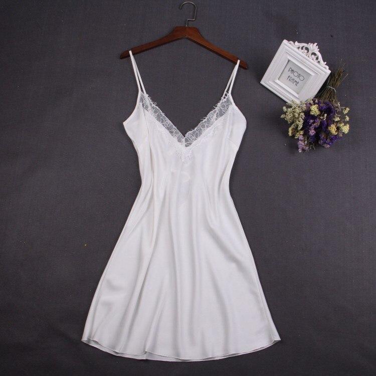 Sexy blanc femmes chemise de nuit dentelle chemise de nuit Mini chemise de nuit porte-jarretelle jupe vêtements de nuit rayonne sans manches pour femme M-XXL