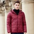 Pioneer camp nova luz fina moletom com capuz homens jaqueta roupas de marca pato para baixo casaco de qualidade superior masculino homens casuais para baixo parkas 611635