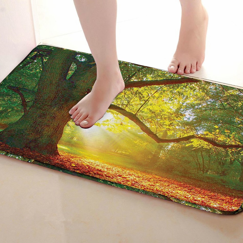 Tree Style Bathroom Mat,Funny Anti skid Bath Mat,Shower Curtains Accessories,Matching Your Shower Curtain