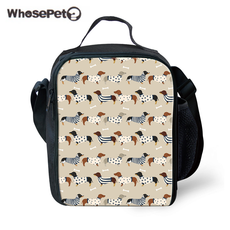 WHOSEPET Girls Lunch Bag Box Doxie Dog Printing Insulated Thermal Picnic Bags for Kids Food Storage Women Portable Lunchbag