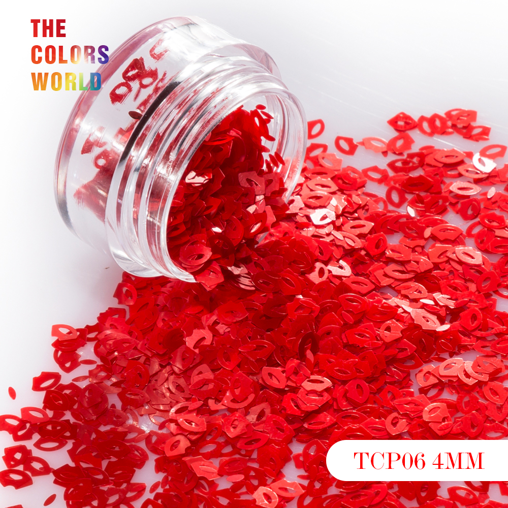 Love Lip Shapes  4MM Size 6 Kinds Colors Glitter For Nail Glitter Nail Art Decoration Makeup Body Art Painting Nail Gel And DIY
