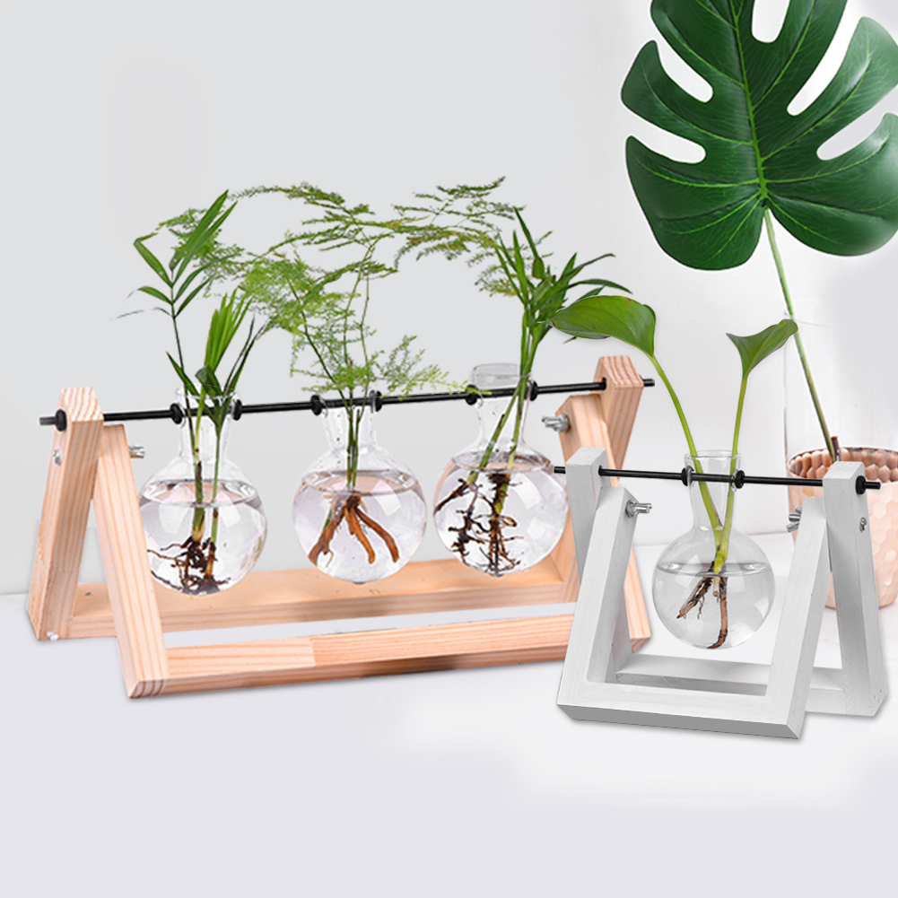 Desktop Glass Planter Vase with Retro Solid Wooden Stand and Metal Swivel Holder for Hydroponics Plants Home Garden Supplies in Flower Pots Planters from Home Garden
