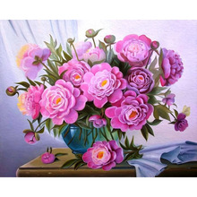 Frameless Pink Flower Blue Vase DIY Painting By Numbers Acrylic Paint On Canvas Kit Flower Paint By Numbers For Home Decor Art chenistory pink europe flower diy painting by numbers acrylic paint by numbers handpainted oil painting on canvas for home decor