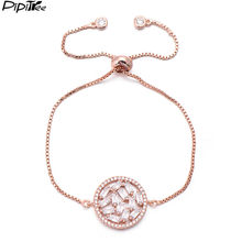 Pipitree Luxury Shiny CZ Zircon Round Charm Bracelet for Women Lady Adjustable Chain Link Bracelets & Bangles Wedding Jewelry(China)