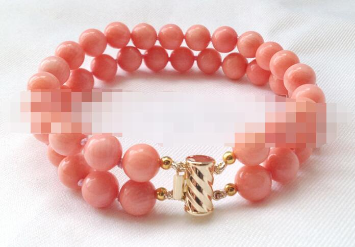 1805 2row ronde rose corail bracelet or rempli fermoir