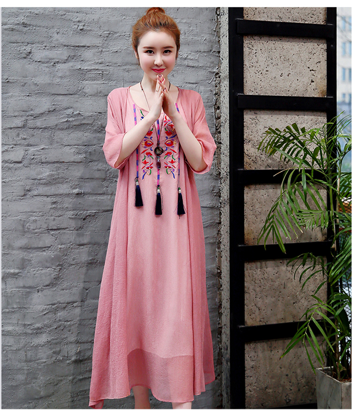 2019 New Cotton Linen Casual 2 Pieces Women Dresses Slim Sleeveless Dress And Cardigan Summer Embroidery Chinese Style Dress 10