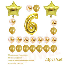 Six year old  Gold Balloon Champagne Number Birthday Balloons Party