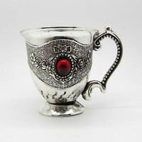Old Decorated Handwork Miao Silver Carving Flower Inlay Red Jade Bead Cup decoration Tibetan Silver word Wholesale 6pcs bronze