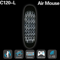 New Backlight C120 air Mouse 6 axes Gyroscope English Rechargeable C120 Mini Wireless Keyboard 2.4G for Android TV Box PC