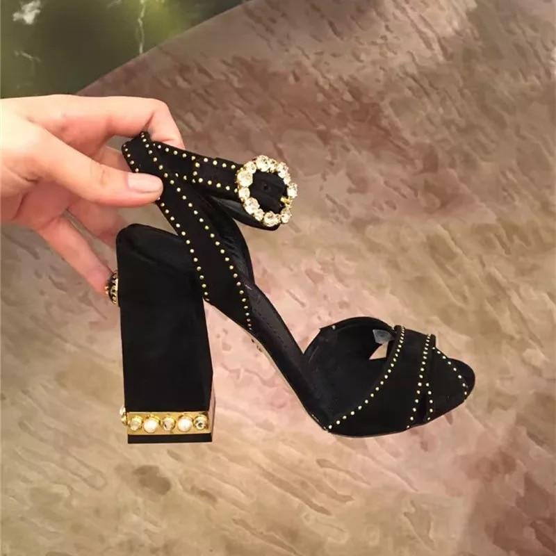 De As Talons as Dames Pic Doux Femme Épais Sandales Hauts Femmes Nouvelle Pic Daim Partie Cristal Zapatos Mujer 2019 Chaussures Été qFC1ZwInTx