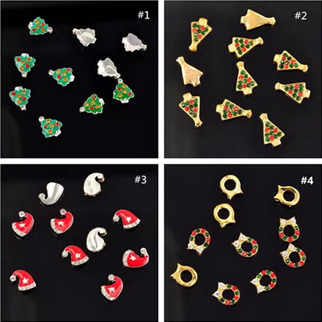 100PCS Alloy 3D Nail Art bling Rhinestone Christmas Gadget For UV ...