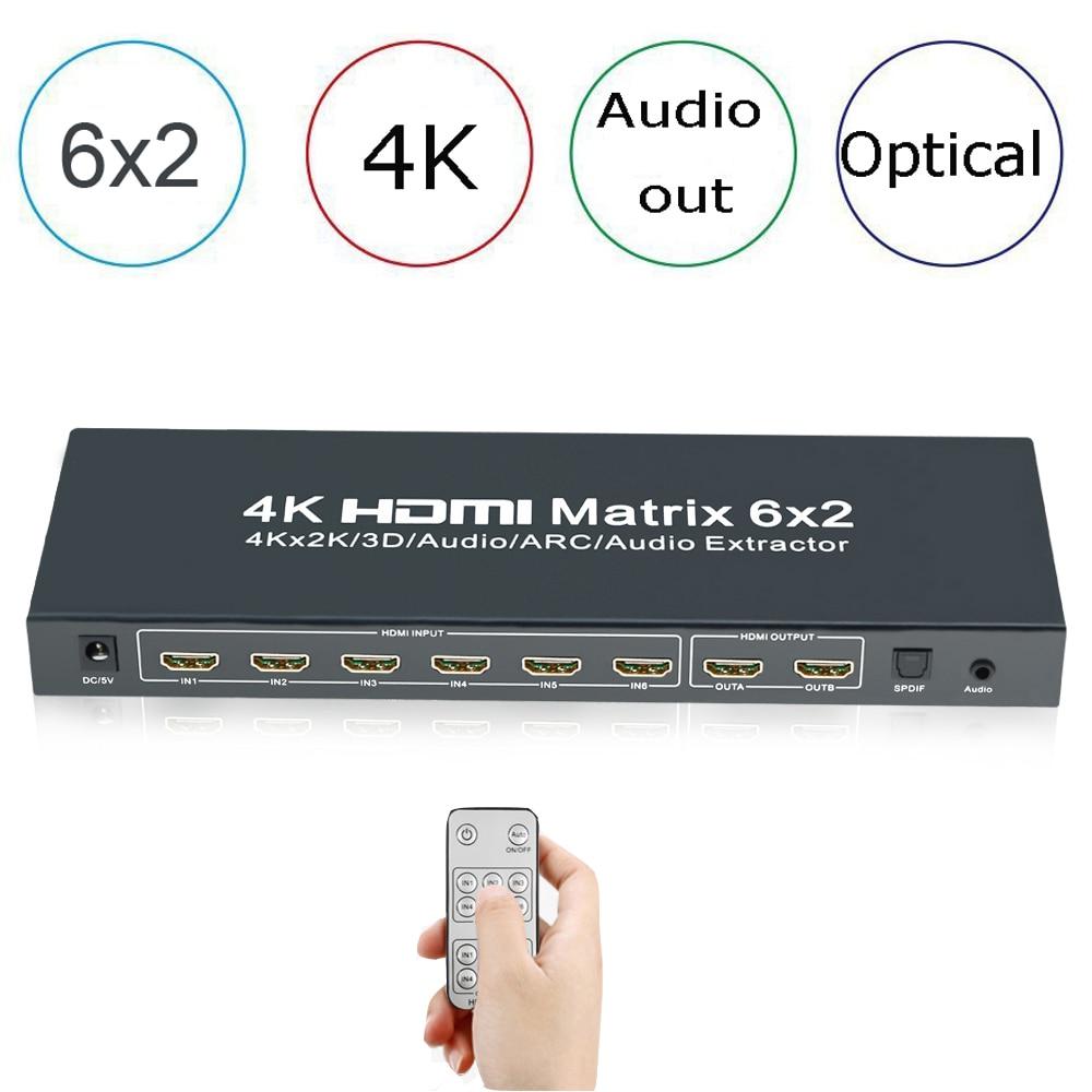 6x2 HDMI True Matrix,Aikexin HDMI Switch Splitter 6 input 2 output + SPDIF +3.5mm Audio Support 4Kx2K with IR Remote Control