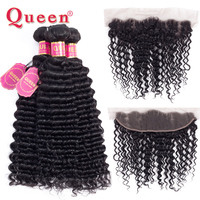QUEEN Hair Deep Wave Human Hair Bundles With Closure Fontal Double Weft Remy Brazilian Hair Weave 3 Bundles With Frontal