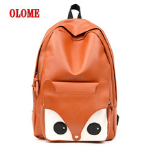 Women Backpack School Bag Leather For Teenager Girls Big Lovely Cute Fox Printing Design Casual Travel New
