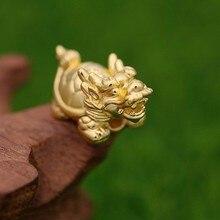 Новые однотонные 999 24 К желтый золотой дракон черепаха кулон 2.13 г 1 шт.