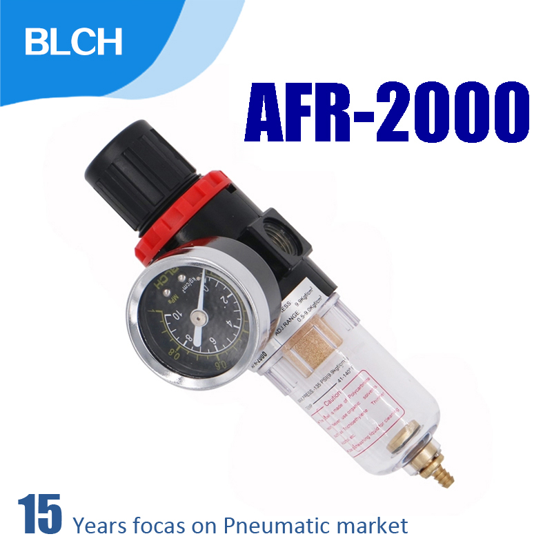 "BLCH AFR-2000 Pneumatic Filter Regulator Air Treatment Unit RC 1/4"" Port Size Pressure Switches Gauge AFR2000"