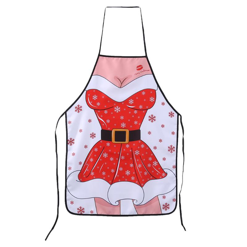 Household Cleaning Protections Original Novelty Kitchen Christmas Apron Non-woven Christmas Cooking Aprons For Woman Santa Claus Christmas Dinner Party Decorations