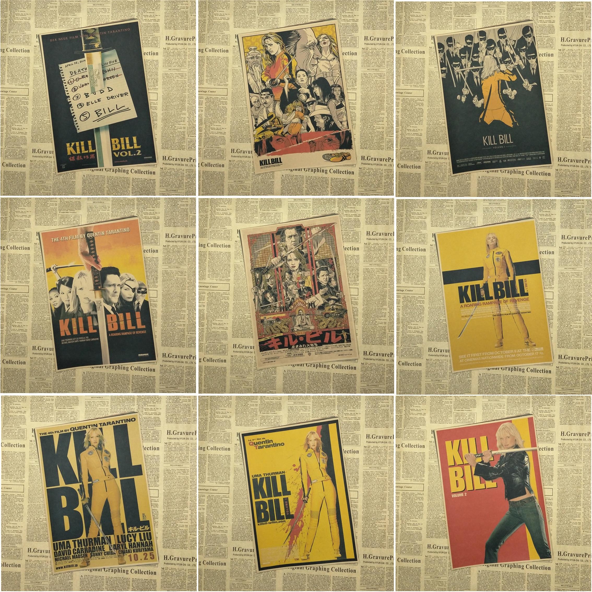 Kill Bill Vol.1 Quentin Tarantino Poster Videos Classic Movie Kraft Paper Poster Bar Cafe Living Room Dining room