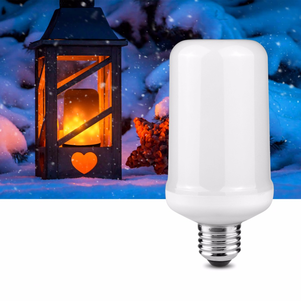 Flame Led Lamp E27 Us 6 98 30 Off Flame Effect Led Corn Bulb Novelty Lighting Simulation Fire Burning Led Lamp E27 Ac 110v 220v Decorative Christmas Garden Lights In