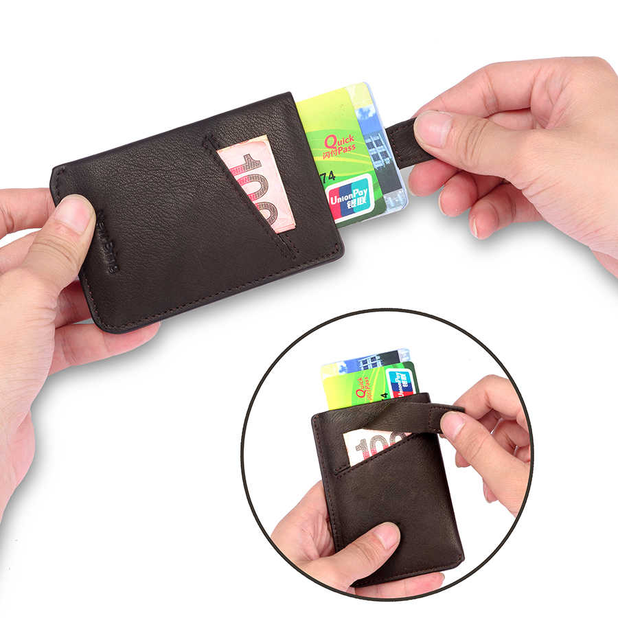NewBring Dünne Leder Brieftasche Männer Kreditkarte & ID Halter Kompakte Mini Geldbörse Bargeld Frauen Karte Halter Hülse Geldbörse Blau schwarz