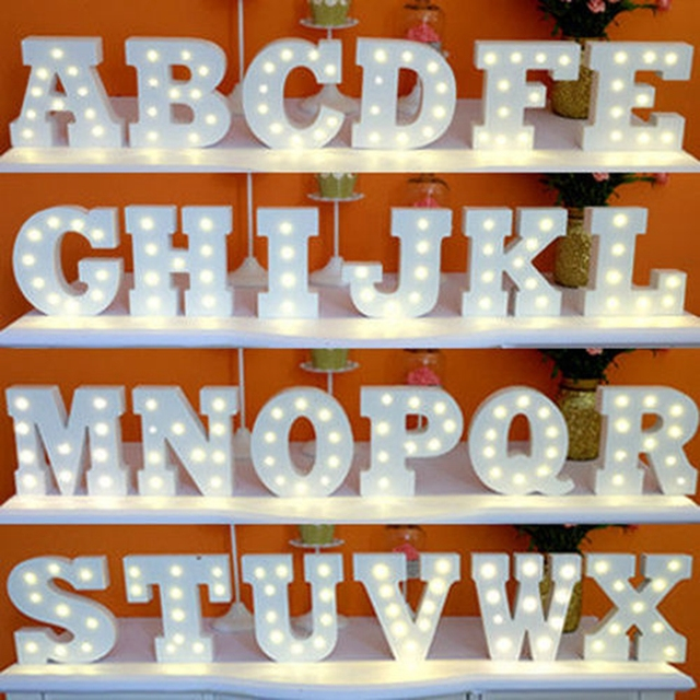 A Z White Wooden Led Letter Lights Sign Alphabet Night Indoor Wall Desk Decor Craft For Wedding Birthday Party Bt Ll