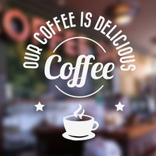 Delicious Coffee Shop Sticker Window Sign Vinyl Decal, Cafe Bar Door Wallpaper Waterproof Decor 3W02