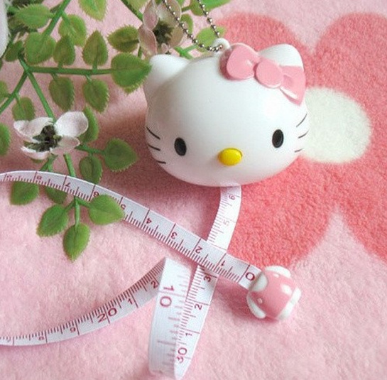 Kawaii Plastic Hello Kitty Drawing Tape Ruler - Kid's Play TOY Drawing Measure Tape Tapeline Tapes Keychain Tape Ruler