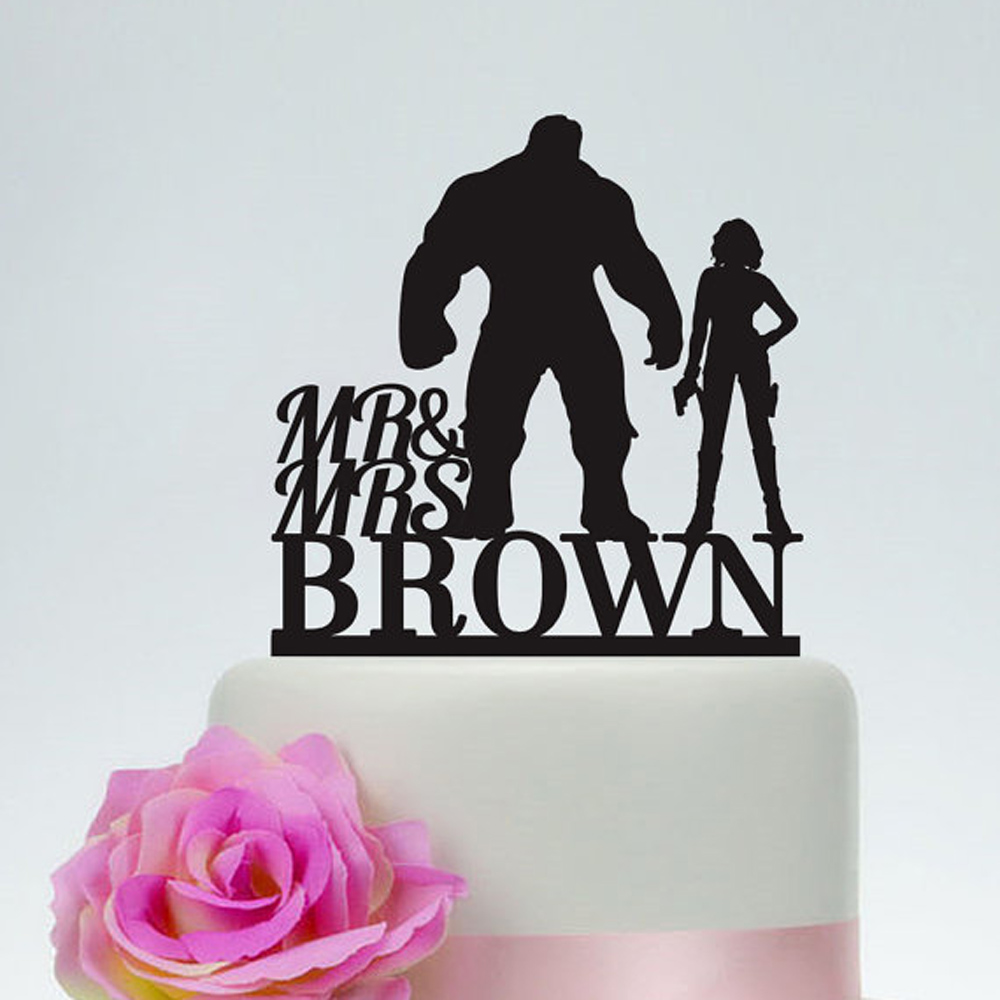 Hulk And Black Widow Wedding Cake Topper Mr And Mrs Acrylic Golg