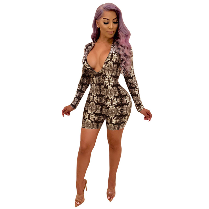 2b0d23f27c3 Snake Print Bodycon Rompers Womens Jumpsuit Overall Shorts Skinny Romper  Deep V Neck Long Sleeve Sexy