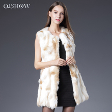 Women Genuine Rabbit Fur Vest 2016 Winter Outwear New Rabbit Fur Coat Waistcoats Female 100% Natural Real Fur Long Jacket Coat