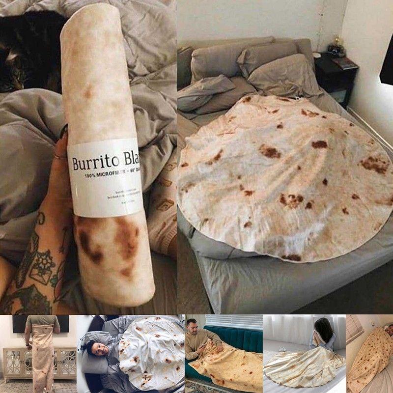 Super Soft Warm Flannel Burrito Blankets 280Gsm Round Shape Airplane Travel Throw Coral Fleece Tortilla Nap Wrap Blankets
