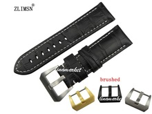22mm NEW Black Thick Genuine Leather Watch Band Strap Bracelet