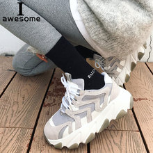 Купить с кэшбэком Genuine Leather Retro Dad Sneakers platform shoes women Chunky sneakers comfortable chaussure Footware Thick Sole Ladies shoe