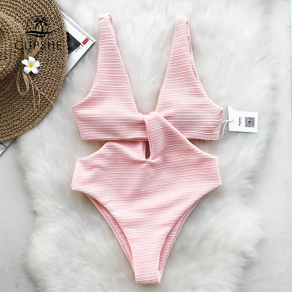 CUPSHE Pink Shine For U Solid One-piece Swimsuit Women V-neck Bow Hollow out Plain Monokini 2018 Girl Beach Cute Swimwear active round neck mesh spliced hollow out bra for women