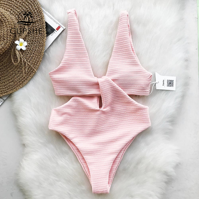 CUPSHE Pink Shine For U Solid One piece Swimsuit Women V neck Bow Hollow out Plain Monokini 2020 Girl Beach Cute Swimwear