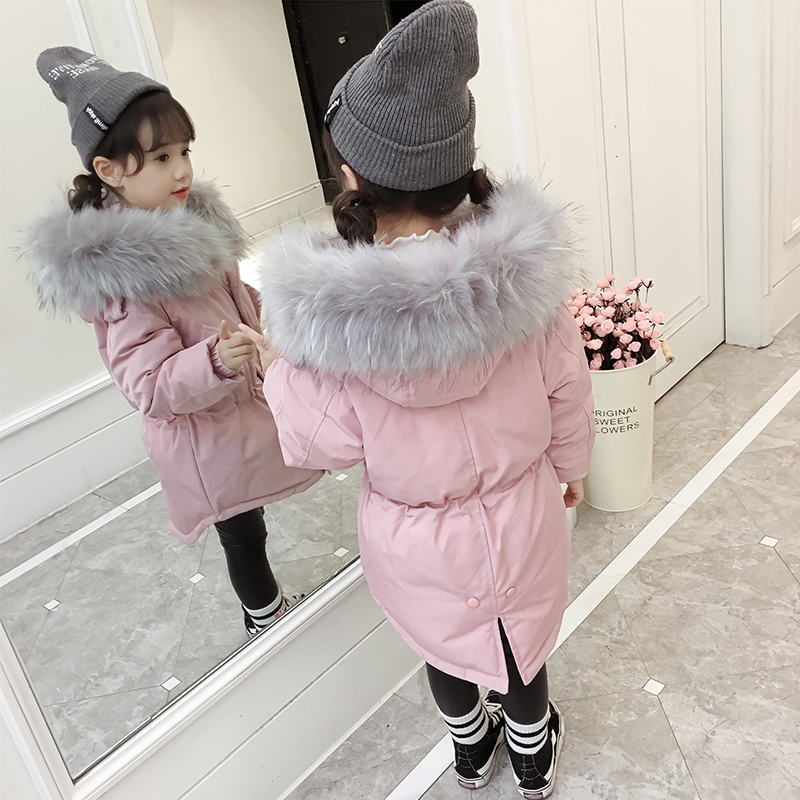 цена на Hot 2018 girls Winter New Cotton Jackets Girls Fashion Fur Collar Letters Coats Girl Thickening Hooded Warm Jacket kids clothes
