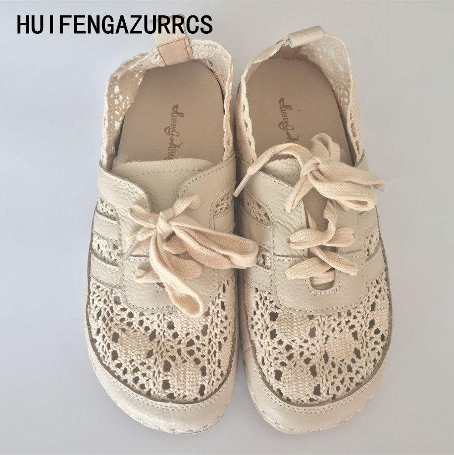 Huifengazurrcs-FRESH арт кружева вентиляции чистая поверхность обуви, ручной работы низкая обувь, Для женщин ретро Mori обувь для девочек, 2 цвета ...