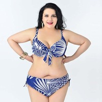 Newest 2015 Big Women Bikini Plus Size Swimsuit Big Bra Hot Sexy Lingerie Printing Bikini For
