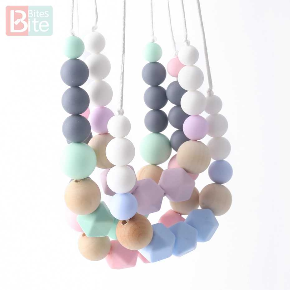 Bite Bites 1pc Silicone Teething Necklace Baby Bite Food Grade Silicone Beads Gifts For the New Year Chain BPA Free Baby Teether