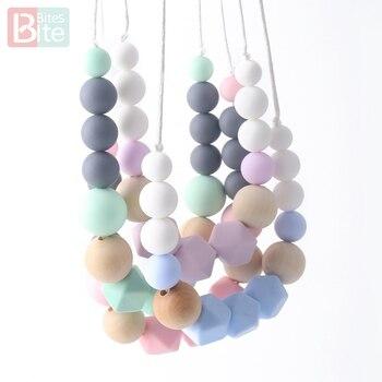 e65a42d10d06 Morder muerde 1 pc collar de dentición silicona bebé mordedura perlas de  silicona de grado de alimentos regalos para el nuevo año cadena BPA bebé  mordedor