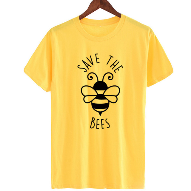 Skuggnas Women Save The Bees T Shirt Women Summer Cute Graphic Tee Top Plus  Size Fashion Casual Loose Streetwear Kawaii Tshirt a624b82364b5