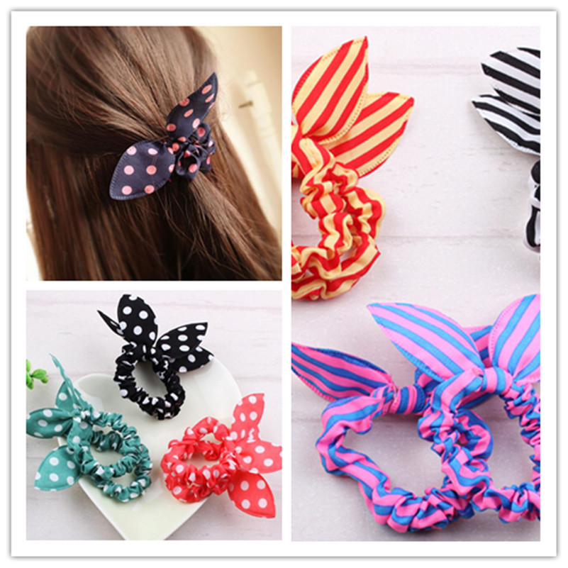 Mix Style Clips For Hair Band  Hair Accessories Polka Dot Leopard Trip Hair Rope Rabbit Ears Scrunchy Hair Tie 1 Piece