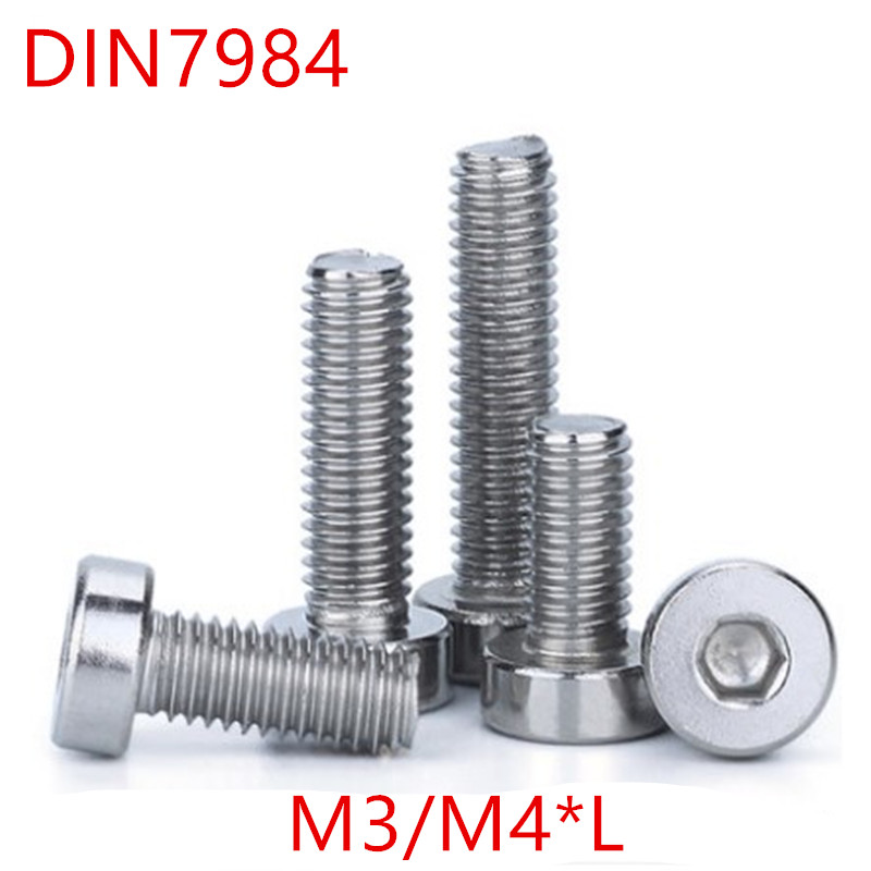 50PCS M3 M4*6/8/10/12/14/16/20/25 DIN7984 Stainless Steel hex socket thin short cap head screw 50pcs m3 6 8 10 12 colourful aluminum hex socket cap head machine screw
