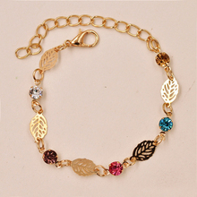 Fashion 1Pc Women Girl Chic Golden Leaf Chain Rhinestone Crystal Bracelets Bangle Jewerly Gift