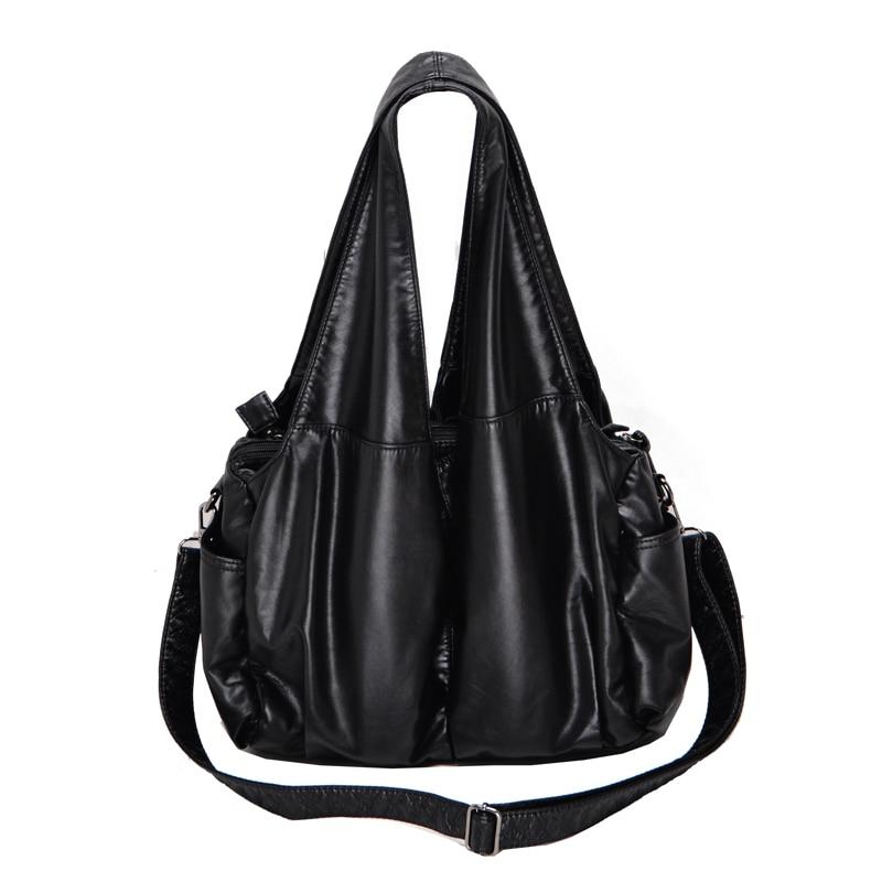 PU Washed Handbags Women Shoulder Bags Hobos Handbag For Woman Soft Messenger Satchel Bags Women Leather Casual Totes