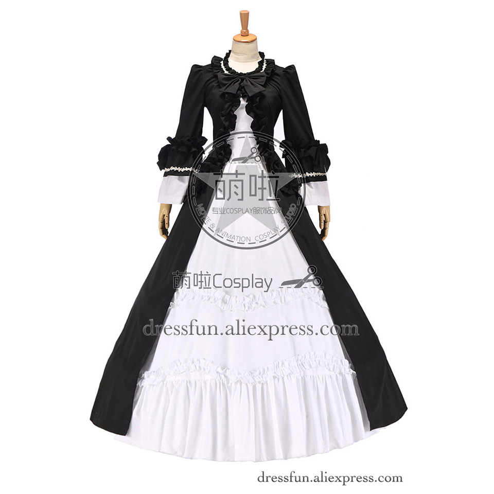 Colonial Renaissance Vintage Gothic Lolita Dress Ball Gown Black White Cotton Dress Custom Made Fast Shipping For Party