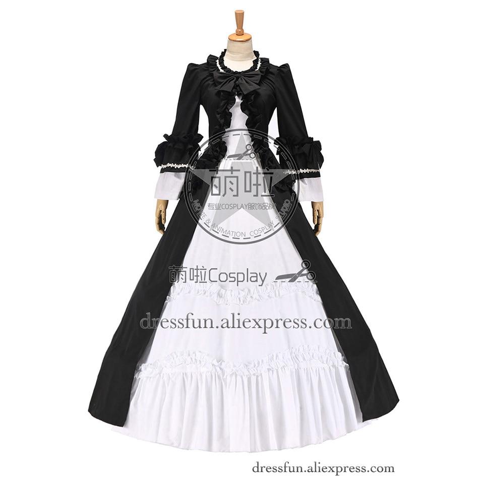 Colonial Renaissance Vintage gothique Lolita robe robe de bal noir blanc robe en coton sur mesure expédition rapide pour la fête