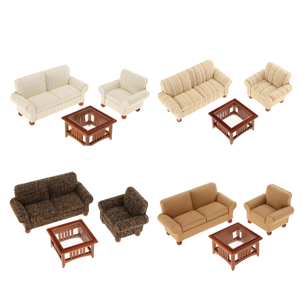 1/12 Scale Dollhouse Miniatures Living Room Furniture Sofa Table Set ...
